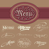 Menu headlines, hand lettering set (vector) Royalty Free Stock Images