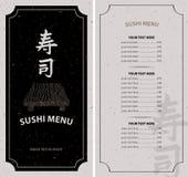 Menu with hieroglyph sushi Stock Photography