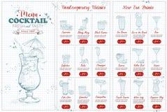 Menu horisontal del cocktail di Front Drawing Fotografie Stock