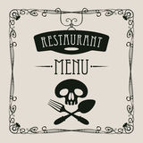 Menu with human skull with a spoon and fork Royalty Free Stock Images
