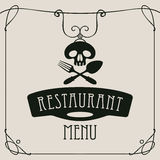 Menu with human skull with a spoon and fork Stock Photo