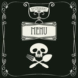 Menu with human skull with a spoon and fork Stock Images