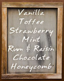 Menu with ice cream flavours. List of popular flavors on a chalk board Stock Images