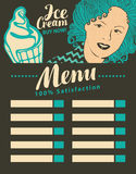 Menu ice cream Stock Image