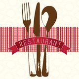 Menu Icons. Banner for restaurant menu, red checkered background Royalty Free Stock Photo