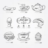 Menu icons doodle drawn on chalkboard background .Vector vintage Royalty Free Stock Photos