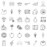Menu icons set, outline style. Menu icons set. Outline style of 36 menu vector icons for web isolated on white background Stock Photography