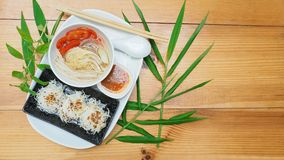 Menu idea of Vegetarian food is rice noodle and soup top view ha stock photo
