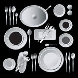 Menu illustration with plates and cutlery Stock Photo