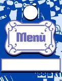 Menu cover in blue and white with cutlery Stock Photography