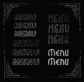 Menu. Inscription menu of different handwritten fonts royalty free illustration