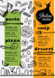 Menu italian restaurant, food template placemat. Royalty Free Stock Photography
