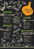 Menu italian restaurant, food template placemat. Stock Images
