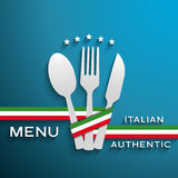 Menu Italian. Vector menu Italian authentic cover Stock Photos