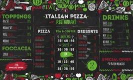 Menu italiano da pizza, projeto para restaurantes, café do molde Inseto do alimento com elementos e rotulação tirados mão sobre Imagens de Stock Royalty Free