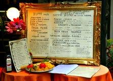 Menu italiano del ristorante su una tabella   Fotografia Stock