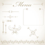 Menu items. A Vintage Menu Design Kit Stock Photo