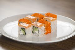 Philadelphia and california rolls.Japanes food. Menu of Japanese cuisine.Sushi rolls Stock Images