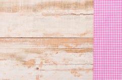 Menu karciany tło drewnianego rocznika stołu drewniana powierzchnia z wieśniak menchii tablecloth Fotografia Stock
