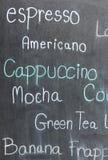 Menu kawa na blackboard Zdjęcia Royalty Free