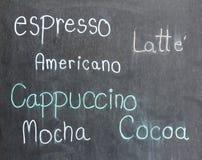 Menu kawa na blackboard Zdjęcia Stock