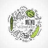 Menu Ketogenic - ilustração do esboço do vetor - conceito saudável dois-colorido do esboço Menu saudável da dieta do keto com tex ilustração do vetor