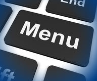 Menu Keys Shows Ordering Food Menus Online Stock Images