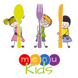 Menu kids. Children with a spoon, knife and fork. menu kids Stock Photo