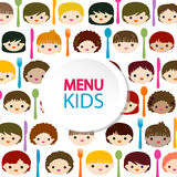 Menu kids faces background Stock Images