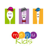 Menu kids. Funny card for child menu. Fork, spoon and knife disguised Stock Image