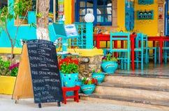Menu kredowa deska przed restauracją Zdjęcie Stock