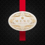 Menu label with calligraphic ornament