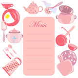 Menu Leaf with Pink Color Utensils. Menu Leaf with Pink Color Glossy Utensils around it. Vector EPS 10 Royalty Free Stock Image