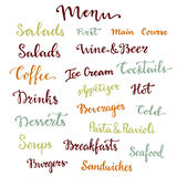 Menu lettering set. Desserts, starters, drinks, breakfasts, cocktails and other words collection. Vector calligraphy Stock Photography