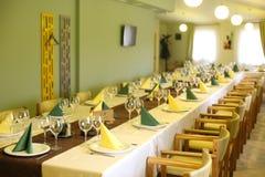 Menu élégant de restaurant de mariage de table de dîner Photos libres de droits