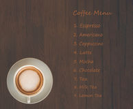Menu list with coffee cup Royalty Free Stock Photos