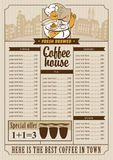 Menu list for coffee Royalty Free Stock Photo