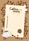Menu list for hot chocolate and coffee Royalty Free Stock Photos