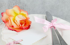 Menu, Love Menu. With label and rose Royalty Free Stock Photo