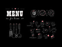 Menu for lovers. Foods with hearts. Happy Valentines day. Doodle Decor elements. Hand drawn. Chalkboard. Vector illustration Stock Images
