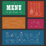 Menu for lovers. Foods with hearts. Happy Valentines day. Doodle Decor elements. Hand drawn. Colored background. Vector illustration Stock Images