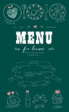 Menu for lovers. Foods with hearts. Happy Valentines day. Doodle Decor elements, ribbons. Hand drawn. Chalkboard Royalty Free Stock Photo