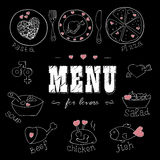Menu for lovers. Foods with hearts. Love romantic. Royalty Free Stock Photo