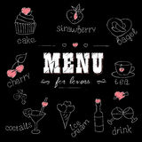 Menu for lovers. Foods with hearts. Love romantic. Royalty Free Stock Photography