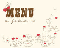 Menu for lovers. Foods with hearts. Love romantic. Valentines day, Wedding.Doodle Decor elements.Hand drawn.Vector vintage illustration.For invitations cards Stock Photo