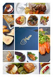 Menu and meals. Collage of dishes and desserts for a menu Royalty Free Stock Photo