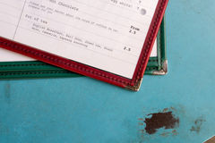 Menu On Metal Table (1). Drinks Menu of Table with Prices Royalty Free Stock Photos