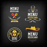 Menu mexican logo and badge design. Vector with graphic. Royalty Free Stock Photography