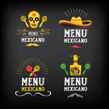 Menu mexican logo and badge design.Vector with graphic. Royalty Free Stock Photography