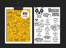 Menu mexican restaurant, template placemat. Stock Images